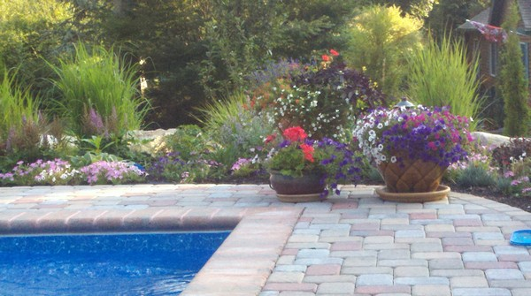 Pool deck with flower pots